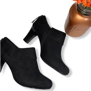 Coach and Four Suede Cuffed Ankle Booties With Bow
